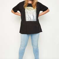 Black Sequin Tee - Curvaceous