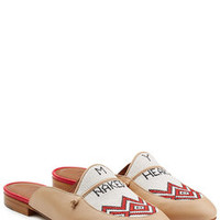 Leather Slippers with Linen Stitching - Malone Souliers X Natalia Vodianova | WOMEN | US STYLEBOP.COM