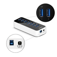 Anker® USB 3.0 7-Port Hub with 1 BC 1.2 Charging Port up to 5V 1.5A, 12V 3A Power Adapter Included [VIA VL812-B2 Chipset]