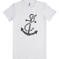 Cool Vintage Ladies Anchor Distressed T-Shirt-Female White T-Shirt