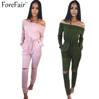 ForeFair S-XXL trend hole sexy off shoulder jumpsuit slash neck long pants bodysuit women overalls lacing waist fitness rompers