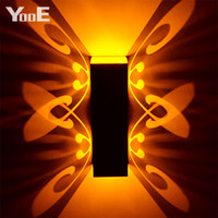 Indoor Led Wall Lamp 2W Butterfly Projection Aluminum Sconce Ac110-220V Decorate Wall Lighting Shipping
