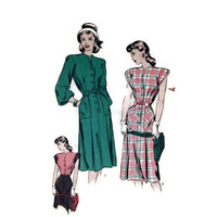 Vintage Sewing Pattern, Hollywood, 1940's, No. 1996 Misses Dress, Long Short Sleeve, Size 12, 30 Bust,  Retro Fashion, Hollywood Glamour