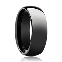 Black Shiny Polished Tungsten Couple Matching Ring with Domed Edges - 4MM - 12MM