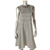 Lauren Ralph Lauren Womens Contrast Trim Striped Wear to Work Dress