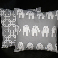 """Pillow Covers Gray and White Elephant 20"""" Decorator Pillows Nursery Decor 20 x 20 Inches Chain Link"""