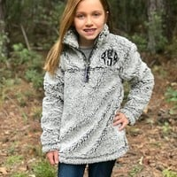 Monogrammed Sherpa Pullover, Women's and Girls Monogrammed Sherpa Quarter Zip Pullover, Sherpa Jacket, Monogrammed Quarter Zip