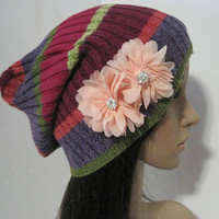 Multi Colored Striped Recycled Sweater Slouch Beanie With Peach Chiffon Flowers and Rhinestone Accents Winter Hats Sweater Hats Accessories