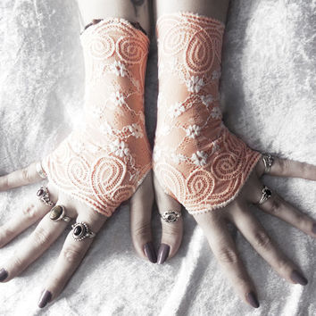 Vignette Lace Fingerless Gloves - Pale Peach Pink Blush w/ White Floral - Wedding Gothic Victorian Vampire Regency Bridesmaid Austen Bridal