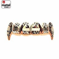 Jewelry Kay style Hip Hop Vampire Fangs Rose Gold Plating Diamond Cut Top Teeth Grillz L020 C3 RG