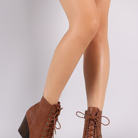Bamboo Chunky Heeled Combat Lace-Up Ankle Boots