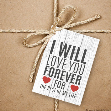 I Will Love You Forever Gift Tags, 9 Valentine's 2.5 x 3.5 Hang Tag, Love Message With Hearts Product Tag With Jute Twine, Love Greeting