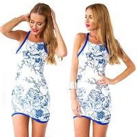 Chicnova Women's White Floral Print Body Con Blue Edge Covering Mini Dress