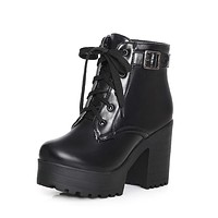 Lace Up Buckle Chunky Heel Motorcycle Boots for Women 7883