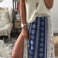 Bohemian Slit Beach Skirt