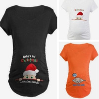 New Fashion Pregnant Maternity Casual T-Shirts Pregnancy Loose Fitting Clothes Christmas Gift [9324250884]