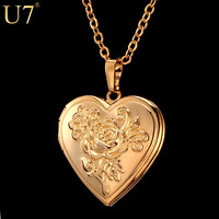 Locket Rose Flower Jewelry Valentines Gift For Women 18K Real Gold Plated Vintage Photo Box Romantic Heart Pendant Necklace P326
