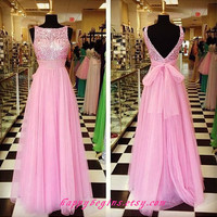 Handmade Open Back Long Pink Prom Dress, Beaded Prom Dress, Bridesmaid Dress, Formal Dresses, Party Dress