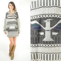 UNISEX southwestern native THUNDERBIRD ethnic baja knit SWEATER jumper aztec, extra small-medium