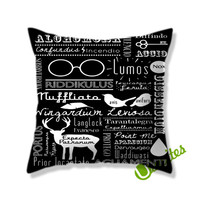 Harry Potter Spells Collage Square Pillow Cover