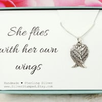 Wing necklace, sterling silver necklace, She flies with her own wings, Guardian angel, inspirational gift for her, gift for friend, sister