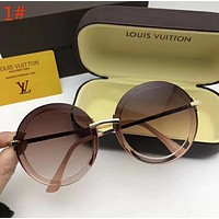 LV Louis Vuitton Popular Women Summer Style Cute Circular Frame Sun Shades Eyeglasses Glasses Sunglasses 1# I12722-1