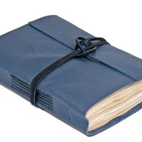 Navy Blue Leather Journal with Tea Stained Paper  - Ready to Ship -
