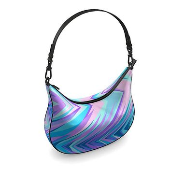 Blue Pink Abstract Eighties Curve Hobo Bag by The Photo Access