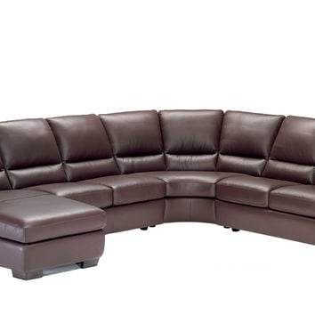 Trento Leather True Sectional with Chaise Lounge by Natuzzi Editions