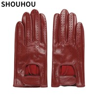 SHOUHOU 2017 Women Gloves Female Genuine Leather Gloves Fashion Mesh Dancing Driving Gloves Girls Touch Screen Gloves Mittens