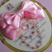Hair clip or Brooch pink bow with glass heart and pink beads sweet lolita fairy kei