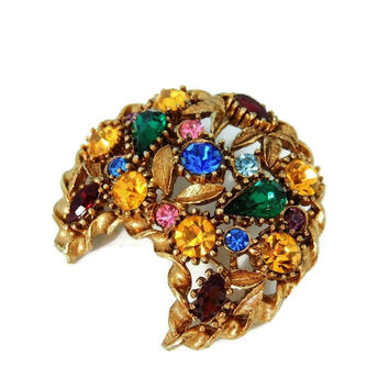 Rainbow Rhinestone Crescent Moon Brooch Big Vintage