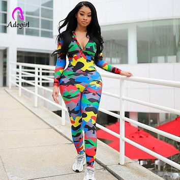Camo Print Romper Zipper Up Neck Sexy Women Bodycon Jumpsuits & Rompers Female Fitness Jumpsuit Long Playsuit Overalls Tracksuit