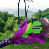 Lime & Purple Smudge Fan - Small Spirit Feather Tool for Smudging with White Sage