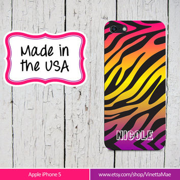 iPhone 5 5s Cell Phone Case Ombre Zebra Animal Print Apple Personalized Name Initial Monogram Protective Black Plastic Hard Cover VM-1016