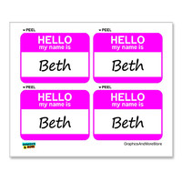 Beth Hello My Name Is - Sheet of 4 Stickers