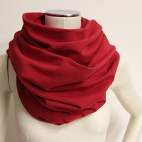 Red Infinity Scarf, Oversized Snood, Cotton Circle Scarf, Red Jersey Scarf, Eternity Scarf, Jersey Cowl Scarf, Large Neck Warmer, Loop Scarf