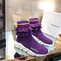 Balenciaga Speed Stretch-knit High-top Sneakers #296