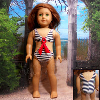 """American Girl Doll swimsuit """"Ocean Breeze"""" in red white blue, Nautical Theme"""