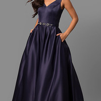 Long Prom Dress with Pockets and V-Neck