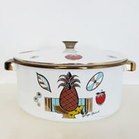 "Vintage MCM Georges Briard Ambrosia Enamel 10"" Pot,  Pineapple Strawberry Fruit Pattern, MOD decor, Mid Century Stockpot, Vintage Gold Decor"