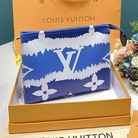 Louis Vuitton LV Fashion Men Women Shopping Gradient Leather Zipper Handbag Tote Wash Gargle Bag Wallet