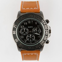 Faux Leather Band Watch Tan One Size For Men 25189841201