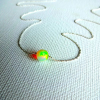High Color Play Large 8mm Round Ethiopian Welo Opal Stone Solitaire Pendant Necklace & 925 Sterling Silver or 14k Rose Gold Fill Chain