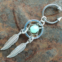 Neon Mint Green Dream Catcher Circular with by MidnightsMojo