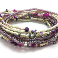 Seed bead wrap stretch bracelets, stacking, beaded, boho anklet, bohemian, stretchy stackable multi strand, purple gold red agate hematite