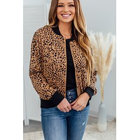 Grace & Lace Cheetah Dot Bomber Jacket - Camel