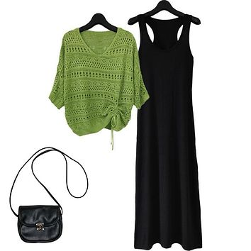 Fashion Dress Suit  Spring Summer  Loose Hollowed Out Strap Knitted Bat Shirt Sest Dress Two-Piece Suit