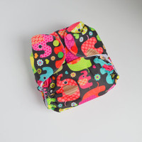Elly Elephant OS Pocket Cloth Diaper with Microfiber Insert & Booster, One Size, PUL, Waterproof Cover, Bright Neon, Baby Shower Gift