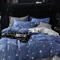 Blue Star & Letter Print Duvet Cover